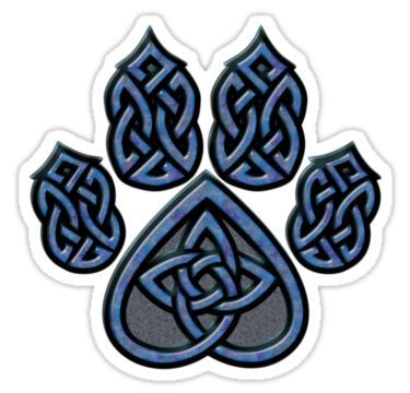 Celtic Knot Pawprint - Blue Stickers by CGafford | Redbubble