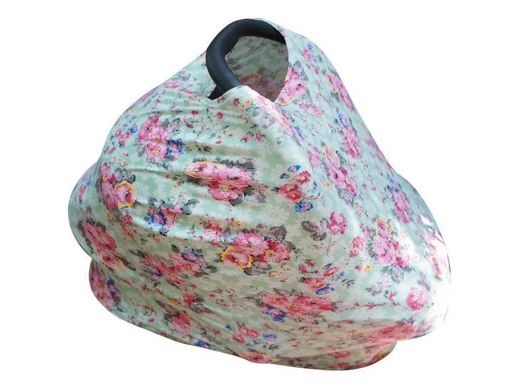 Baby Girl Floral Car Seat Cover Canopy and Nursing Cover Multi Use ...