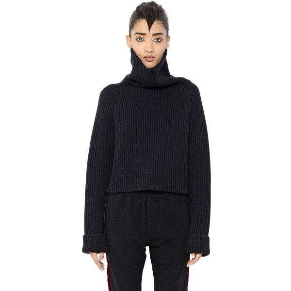 Haider Ackermann Women Ribbed Wool Turtleneck Cropped Sweater ($775) ❤ liked on Polyvore featuring tops, sweaters, black, high collar sweater, wool turtleneck sweater, wool turtleneck, wool sweaters and turtleneck sweater