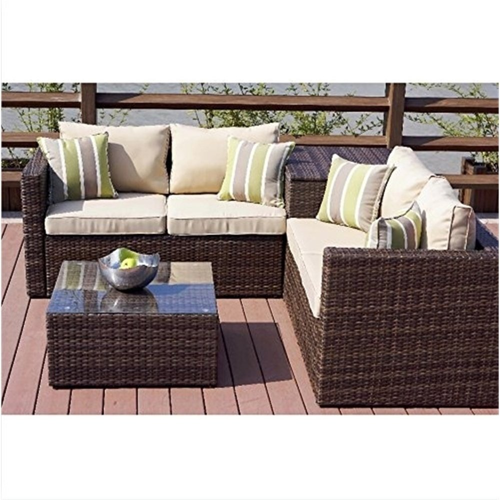 Peachy 4 Piece Cushioned Outdoor Rattan Wicker Sofa Sectional Patio Inzonedesignstudio Interior Chair Design Inzonedesignstudiocom