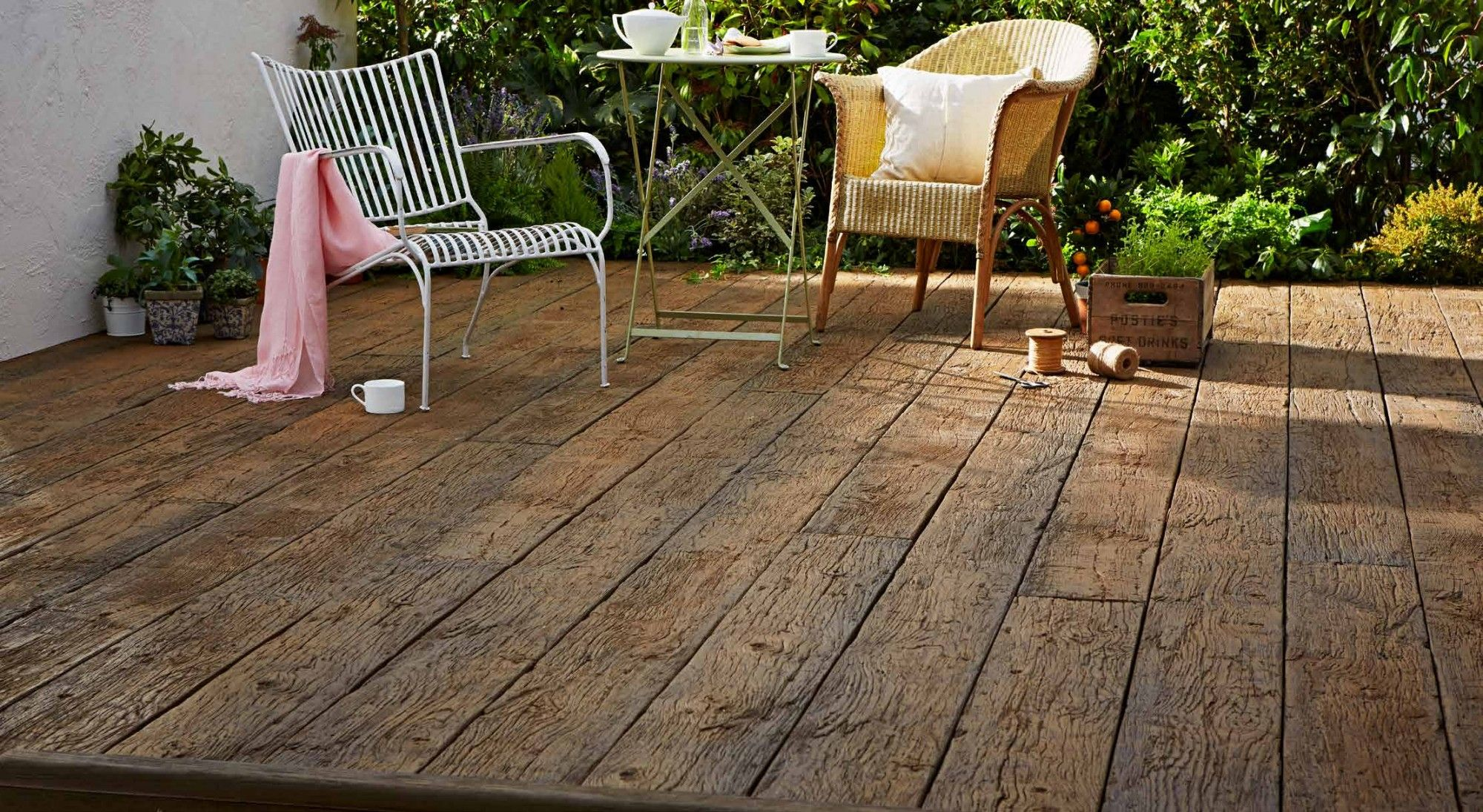 Millboard garden decking example type weathered oak taken for Garden decking examples