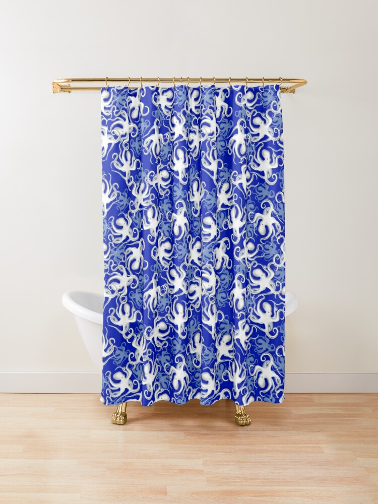 Octopus Pattern Blue Shower Curtain By Tmbtm In 2020 Blue