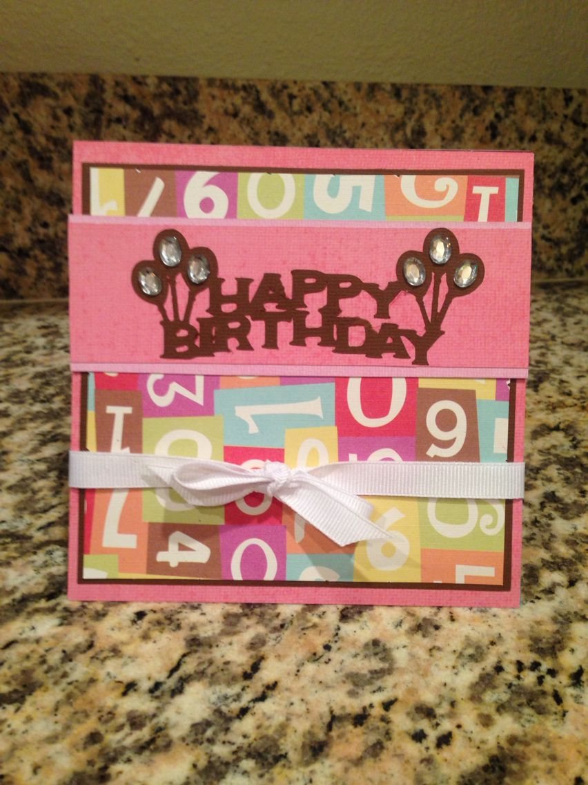 Diy birthday card cricut for wording festive paper and ribbon