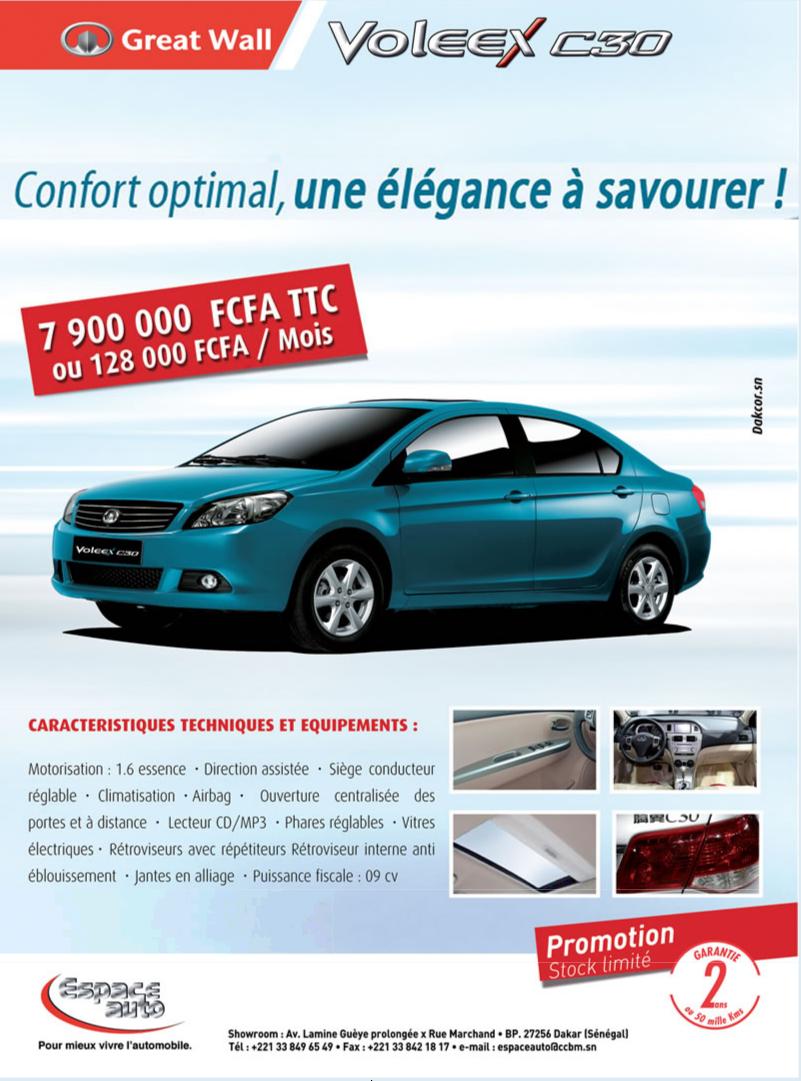 Neweletter Du Concessionnaire Espace Auto Pour Promouvoir Au Senegal La Berline Voleex C30 Du Constructeur Chinois Great Wall Aout 2012 Toy Car Ads