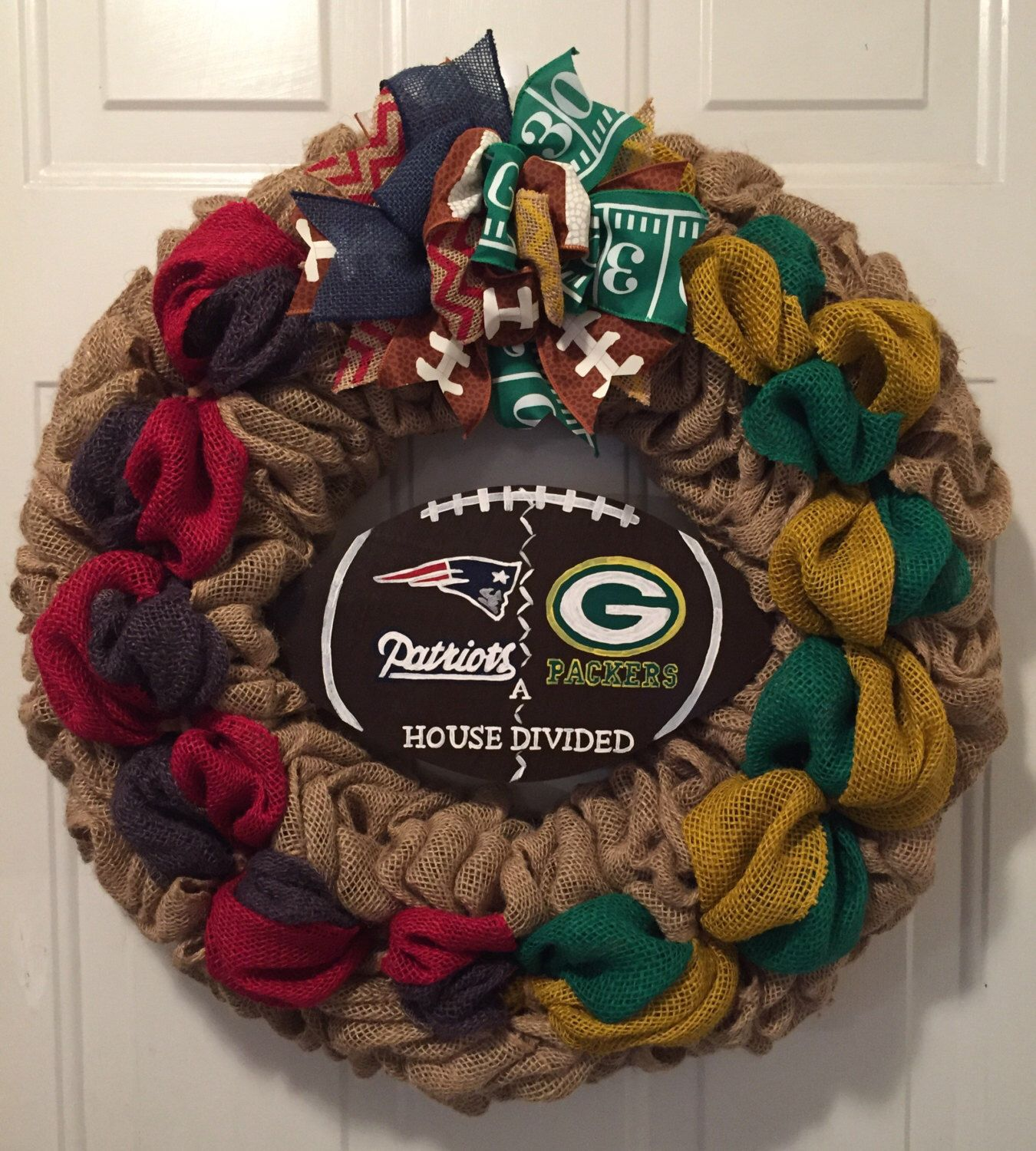 A personal favorite from my Etsy shop https://www.etsy.com/listing/487637001/patriots-wreath-green-bay-packers-a