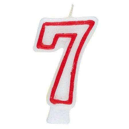 Number 7 Birthday Candle 275 In Red And White 1ct
