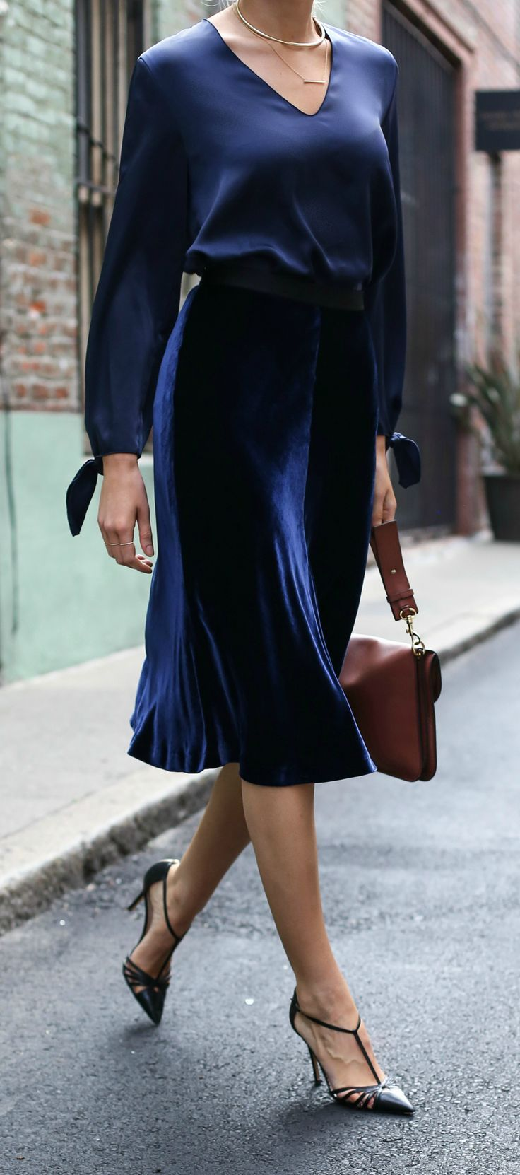 56833d4ad56 incorporating fall trends into your work wardrobe with this navy satin  blouse, navy velvet fit and flare midi skirt, and classic ankle strap pumps  (Click ...