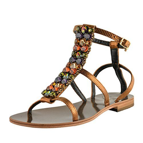 e7ae7b55716 Emanuela Caruso Capri Womens Stone Decorated Flat Sandals Shoes US 10 IT 40     Click image to review more details.(This is an Amazon affiliate link)
