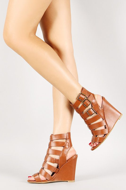 Bamboo Gladiator Caged Triple Buckle Wedge