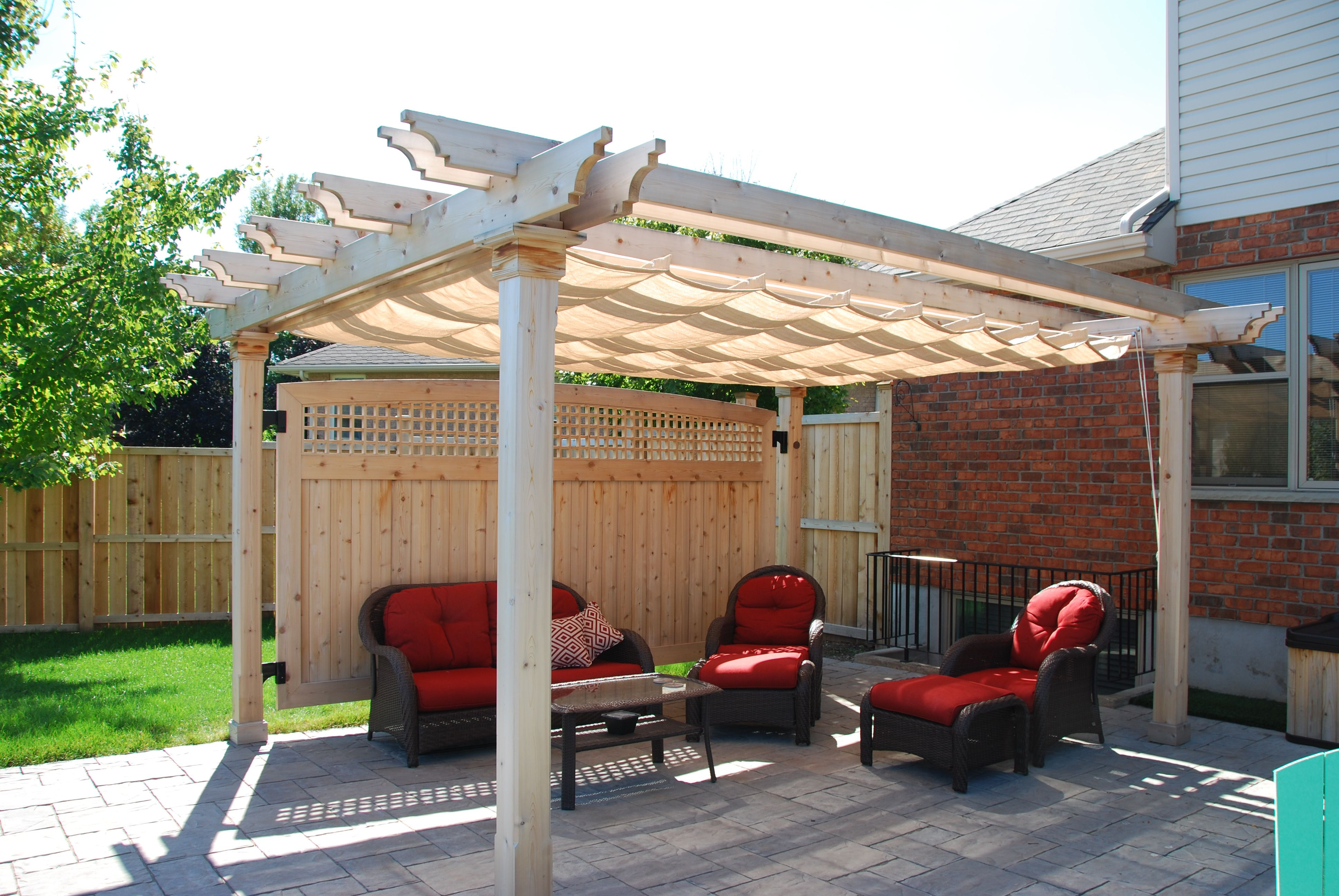White Colonial Design Pergola Attached To House With Off White Haromonica