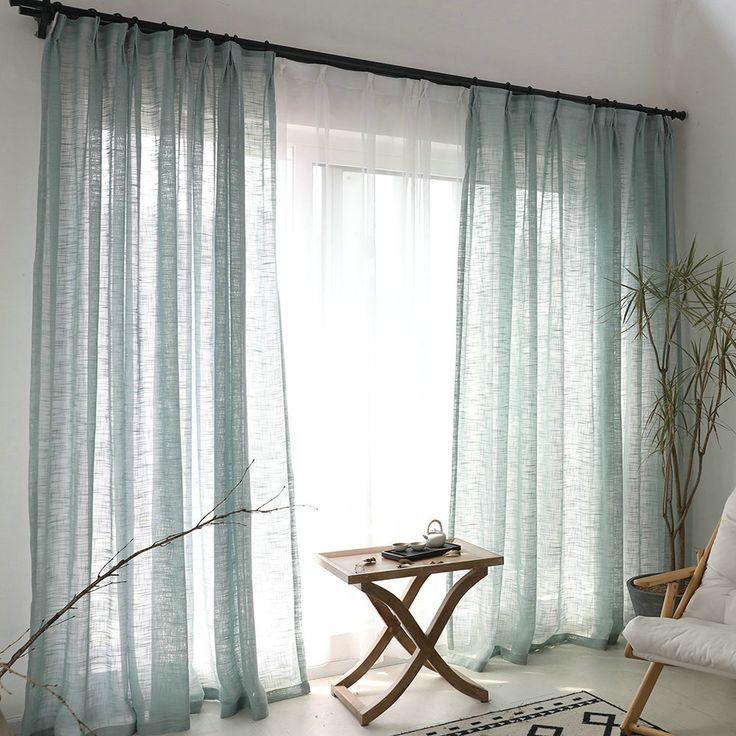 Photo of Minimalismus Gardine Blau Unifarbe im Wohnzimmer