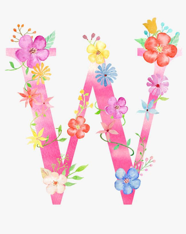 La Fleur De La Lettre W Lettres W Les Fleurs Fichier Png Et Psd Pour Le Telechargement Libre Flower Alphabet Floral Poster Watercolor Lettering