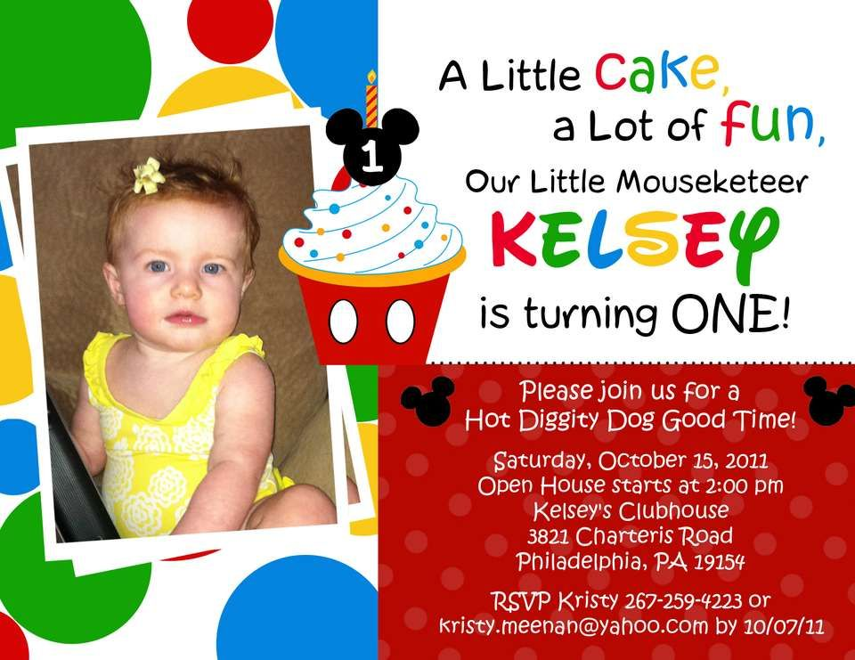 Cool Mickey Mouse Clubhouse 1st Birthday Invitations