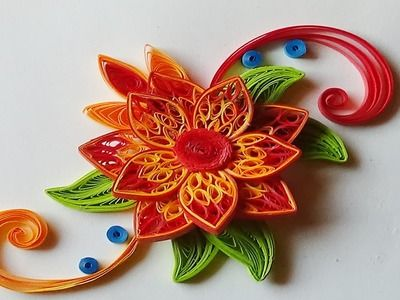 Quilling flowers   how to make flowers with paper step by step I Quilling orange.red Flower