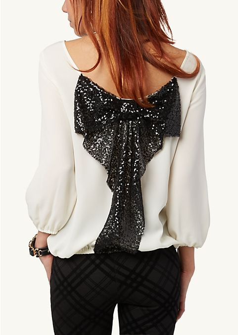Ivory Sequined Bow Back Top Fashion Clothes Bow Back Top