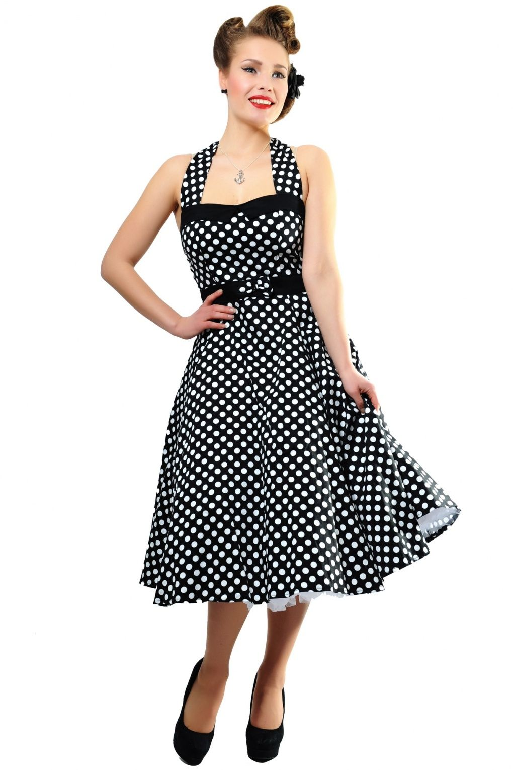 3d4cf5a7468f6b Collectif Clothing - 50s Stella Sweetheart Doll Black White Polka Dot swing  dress