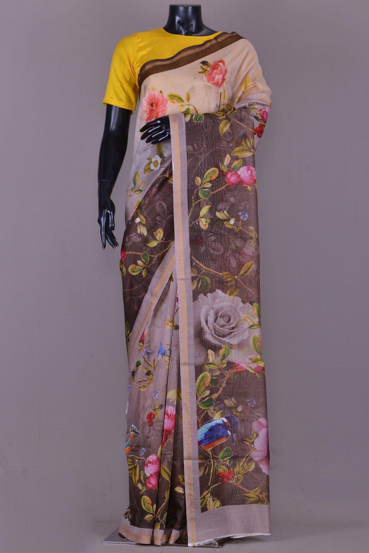 Off white tussar silk saree sarees  sherwani  salwar  kurti  lehenga  samyakk online