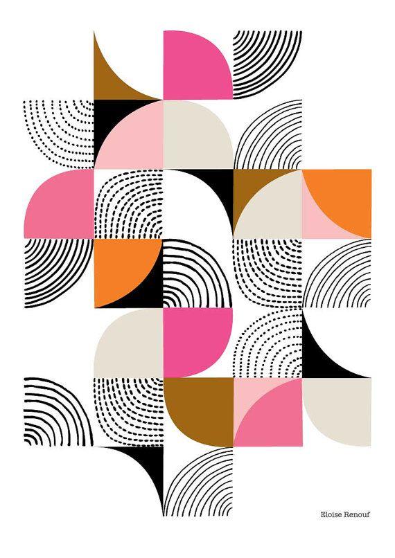 Kurven open-Edition Giclee print in Rosa von EloiseRenouf auf Etsy Idee für Quilttop