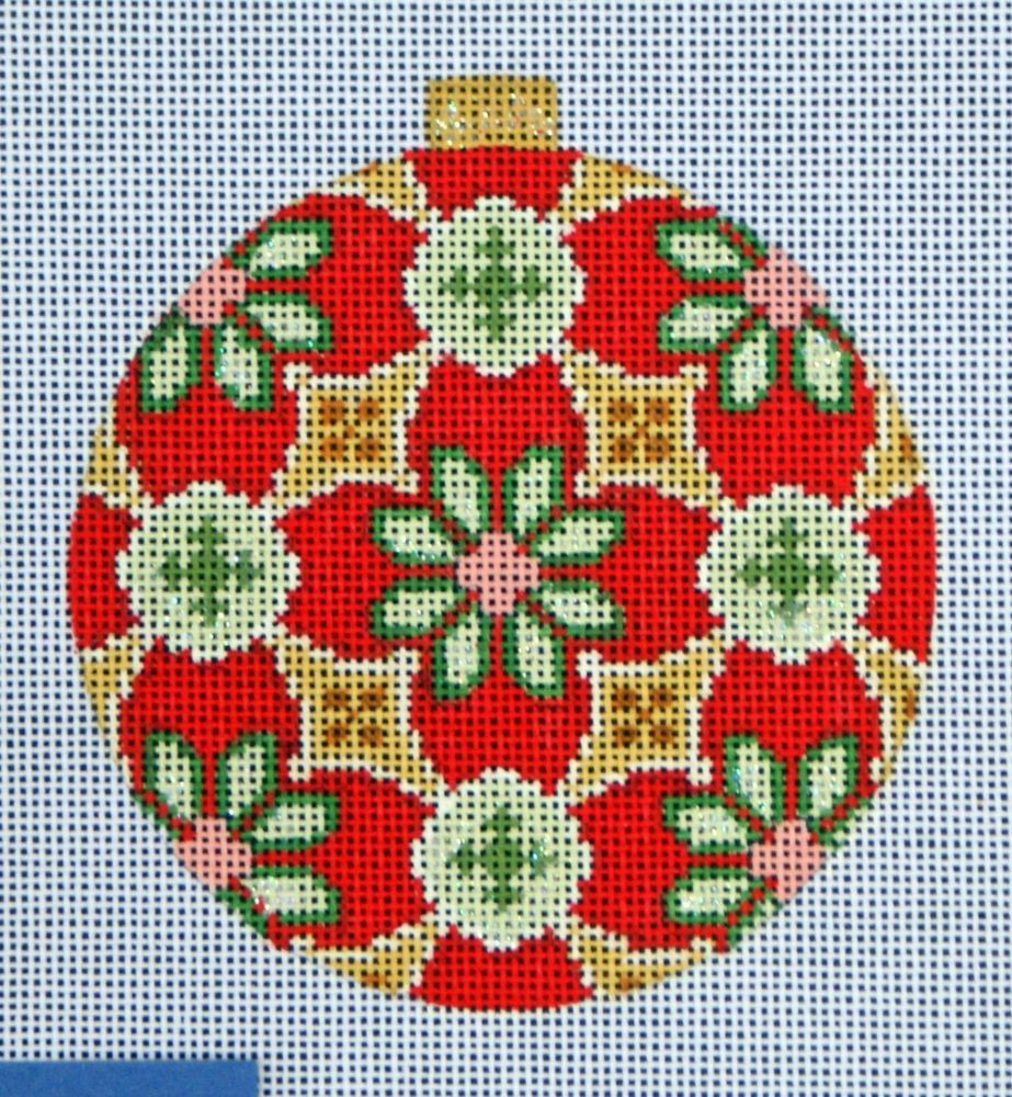 Kirk & Bradley Florentine Bauble Hand Painted Needlepoint 18 Count Canvas