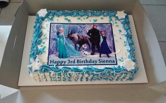Frozen Theme Sheet Cake Happy Birthday Sienna Frozen Theme Cake