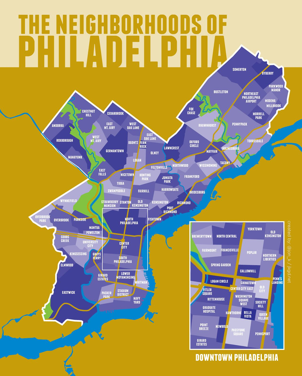 Philadelphia Neighborhoods Map One take on Philadelphia neighborhoods | City of Brotherly Love