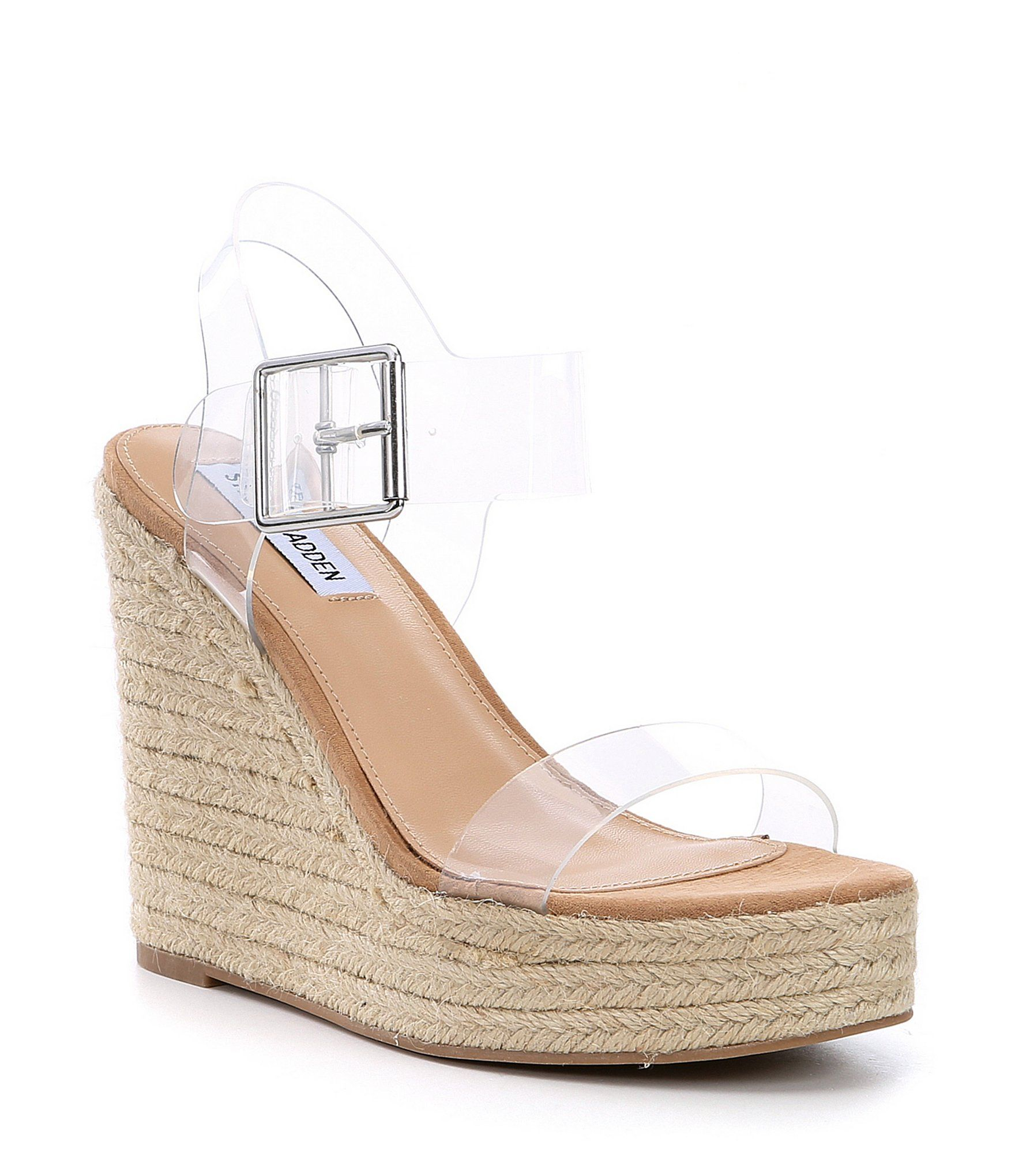 genio capacidad grieta  Steve Madden Splash Clear Transparent Banded Espadrille Wedge Sandals  #Dillards | Espadrilles wedges, Espadrilles, Wedge sandals