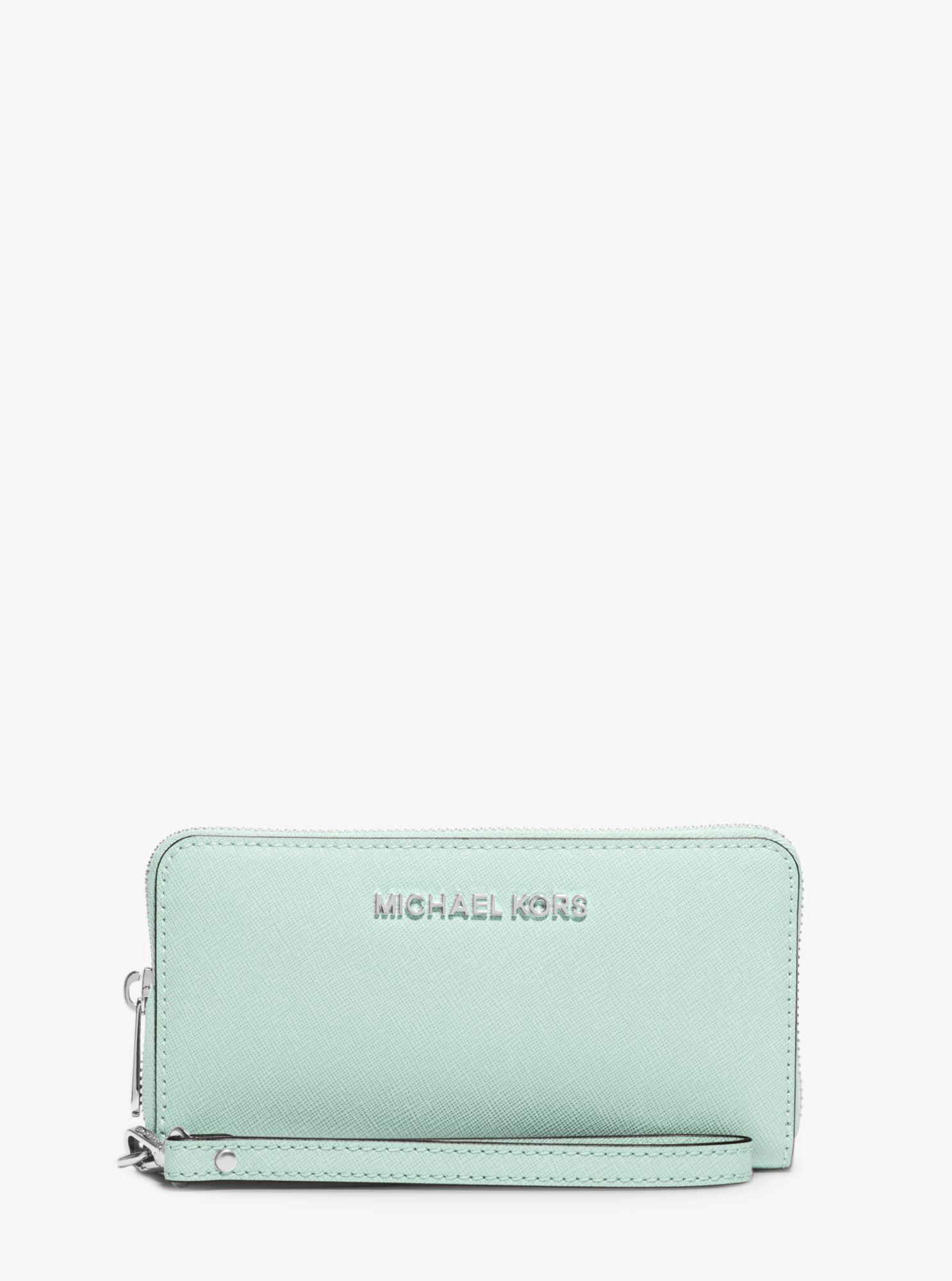 c0c31da14094b MICHAEL KORS Jet Set Travel Large Saffiano Leather Smartphone Wristlet.   michaelkors  all