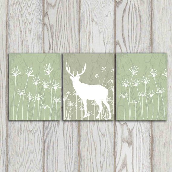 Sage Green Wall Print Dandelion Art White Deer Decor Set 3 8x10 Printable
