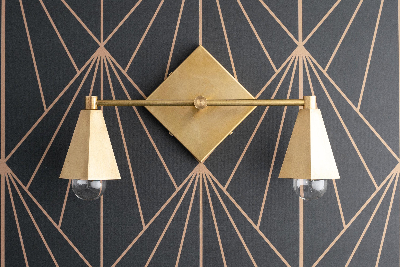 Photo of Brass Vanity Light – Geometric Light – Art Deco Lighting – Modern Lighting – Modern Vanity – Bathroom Vanity – Model No. 4237