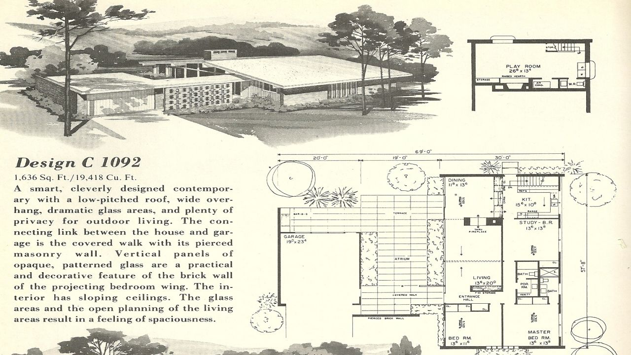mid century modern house plans. Mid Century Modern Wallpaper Vintage House Plan Florida Home Plans Lrg All About And Floor ~ Mid-century Book U Shaped F