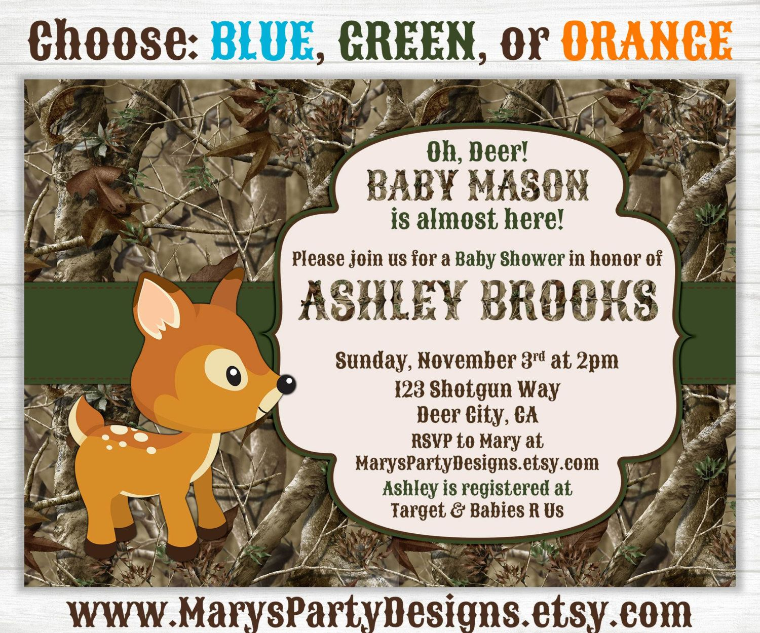 Camo Baby Boy Shower Invitation - Oh Deer Hunting Camouflage ...