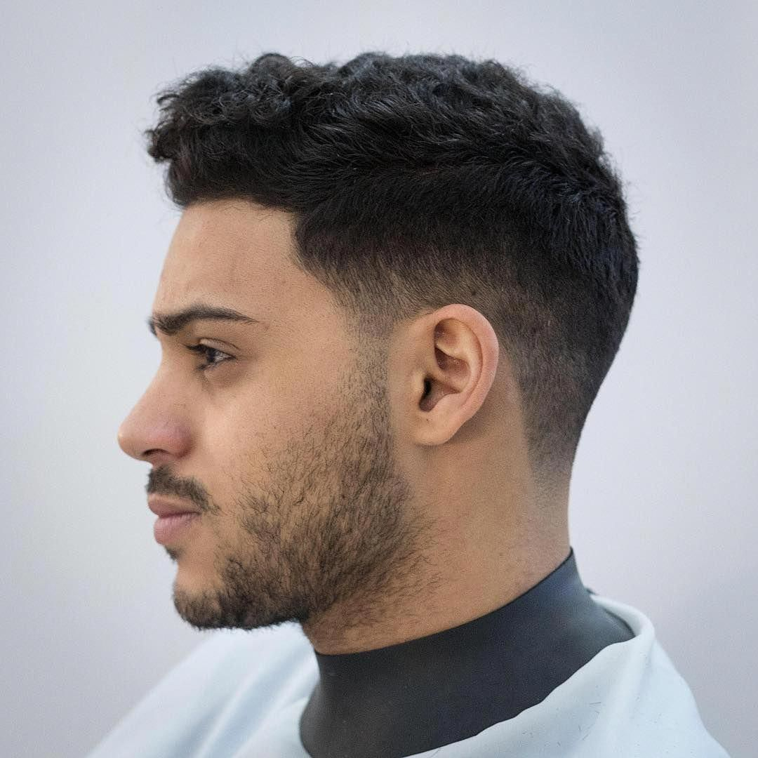 Classic short haircut for men with curly hair menshair
