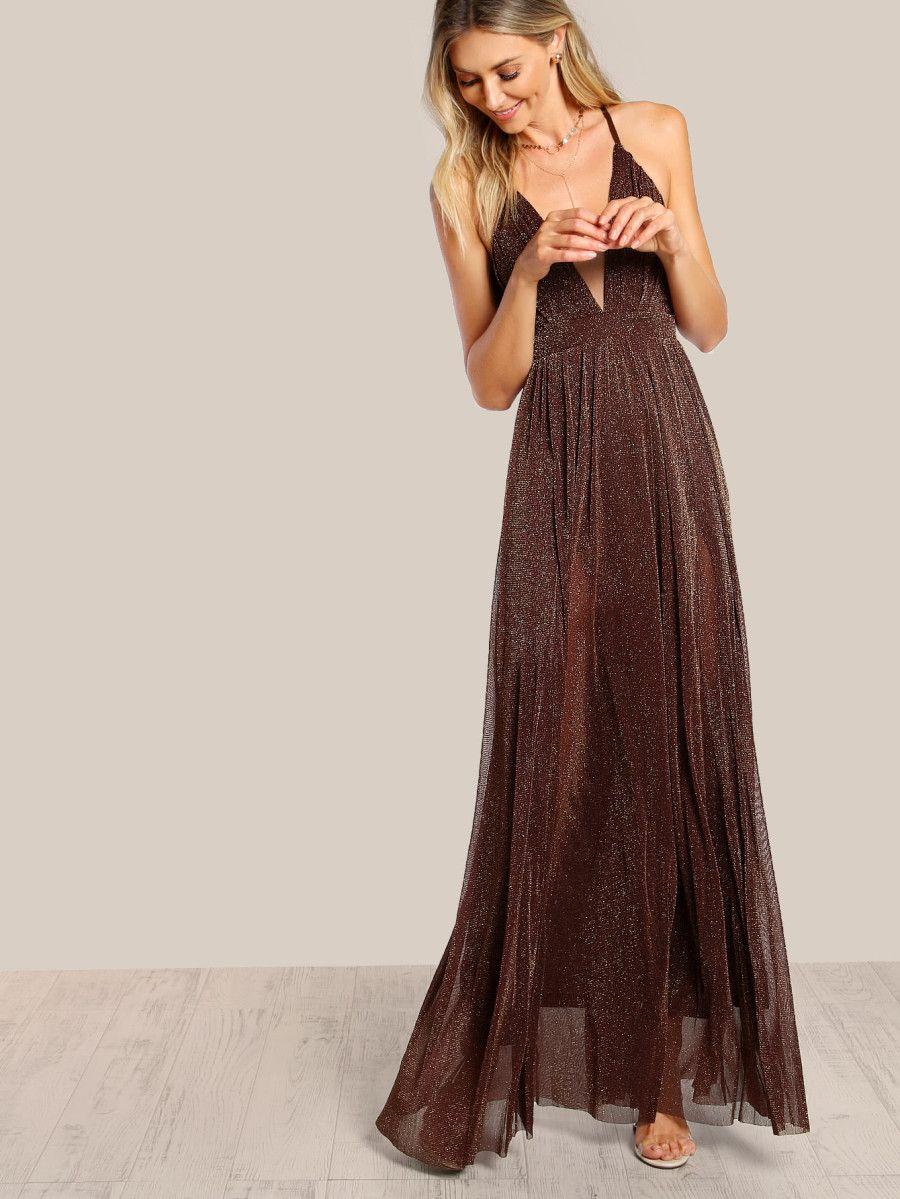 8cf3f11d Crisscross Back Glitter Maxi Cami Dress | Bridesmaids (Actual ...