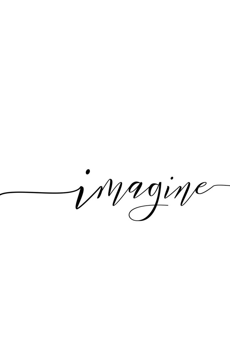 Imagine Poster Woman Printable Gift Desk Decor Ideas Bestfriend Modernist Wall Art Gift For Her Printable Online New Job Gifts White Background Quotes Imagination Quotes Wall Art Gift