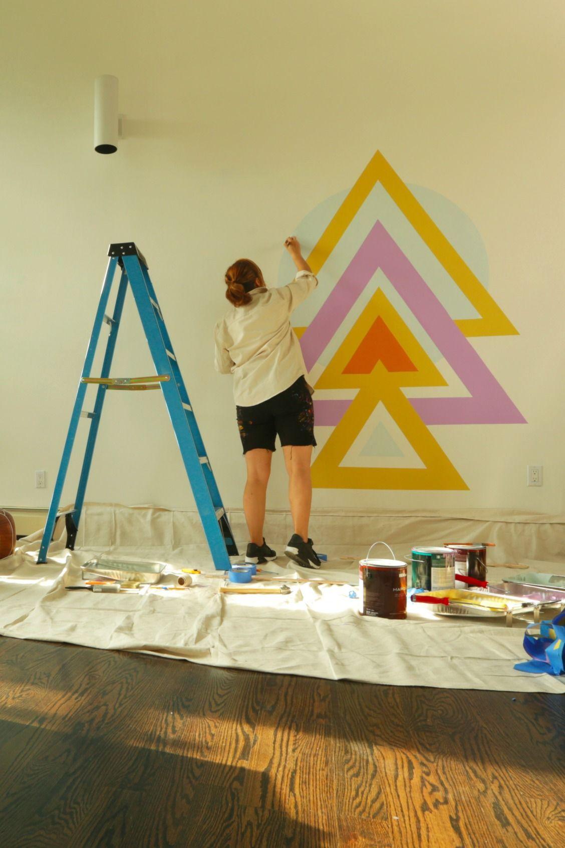 Geometric Wall Mural DIY | Geometric wall, Wall murals and Ideas para