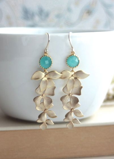Mint Opal Green Glass Drops with Gold Orchid Earrings. Mint Garden Wedding | By Marolsha