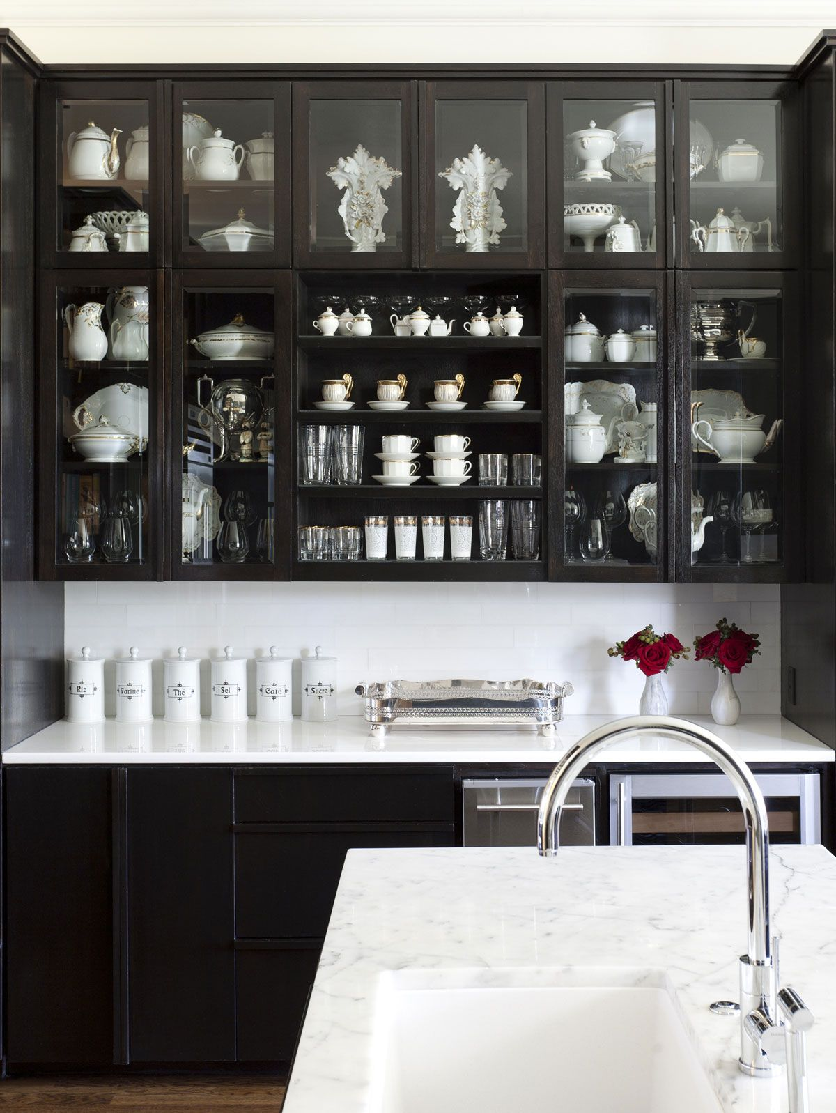 ...or black interior glass cupboards