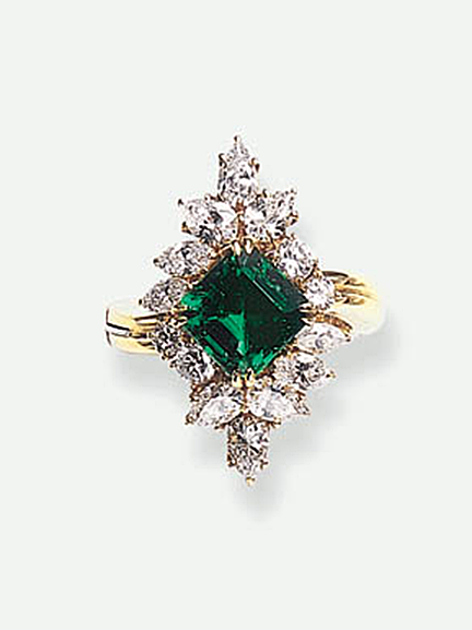 AN EMERALD AND DIAMOND RING, BY HARRY WINSTON   Set with a square-cut emerald, weighing approximately 2.89 carats, within a circular, pear and marquise-cut diamond lozenge-shaped frame, mounted in 18k gold  Signed Winston for Harry Winston