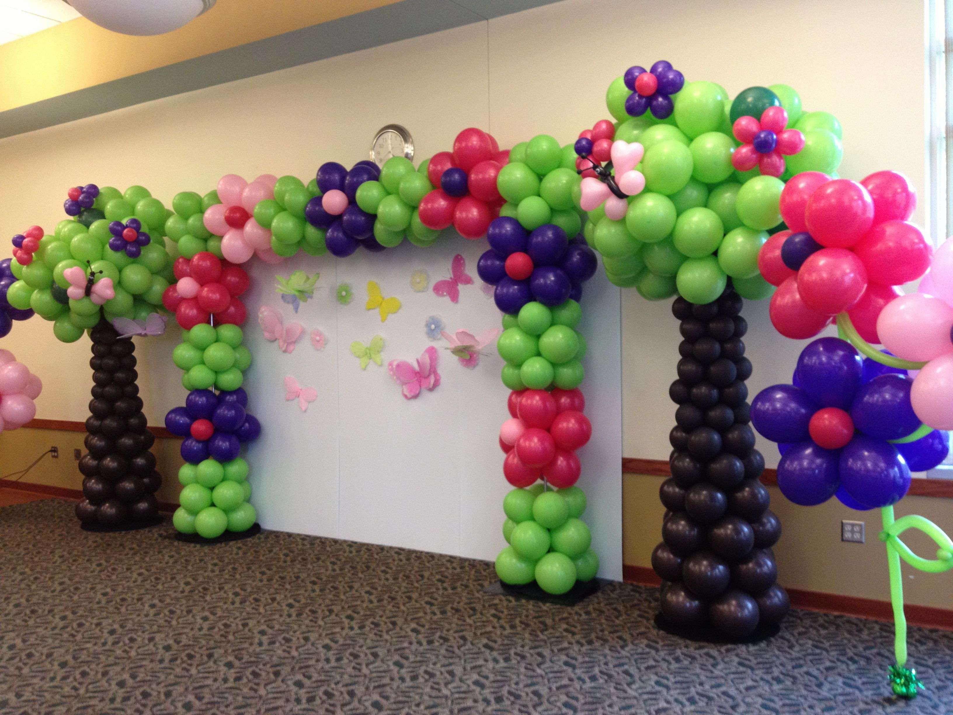 Flower Garden Backdrop. | Dora | Pinterest | Balloon tree and ...