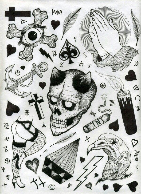 Black And White Flash Tattoo Flash Sheet Flash Tattoo Black