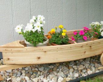 Nautical Wooden Outdoor Landscape All Cedar Boat Garden Box Planter Lawn Or  Yard Ornament Decoration Or Wedding Raw Bar Or Gift Box