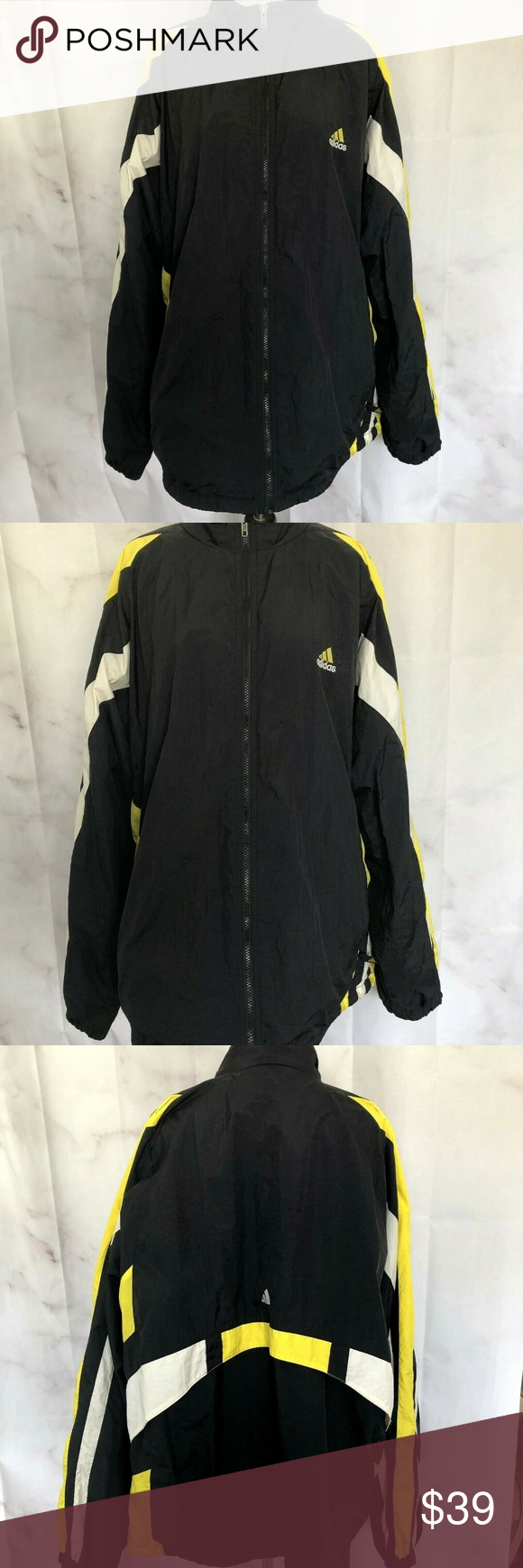 Adidas Black Windbreaker Yellow White Stripes XL | Black