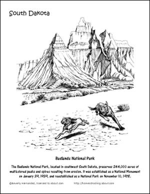 south dakota printables badlands national park coloring page
