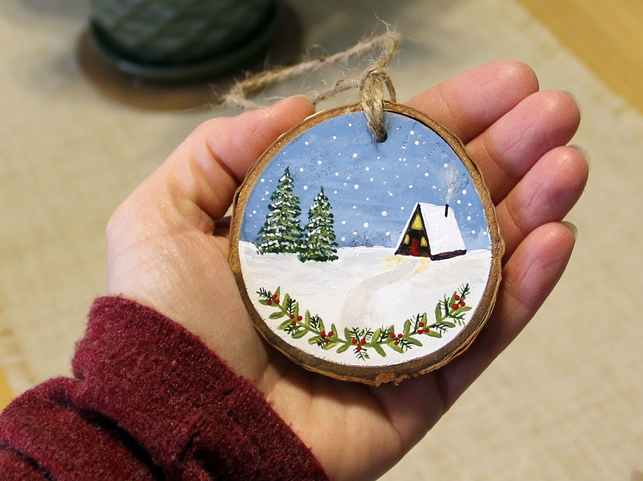Snowy A Frame Cabin Wood Slice Ornament Rustic Ornament Etsy Wood Slices Hand Painted Ornaments Painted Christmas Ornaments