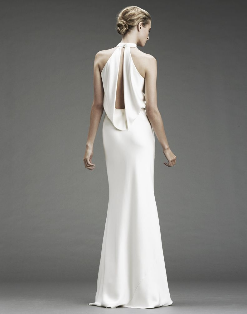 Slinky Silk Halter Wedding Dress With Deep V And Open Back Onewed