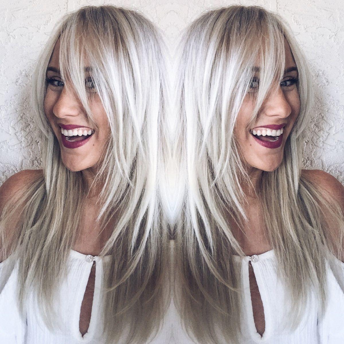 Long Fringed Bangs Bridget Bardot Inspired Blonde Hair Icy Cool