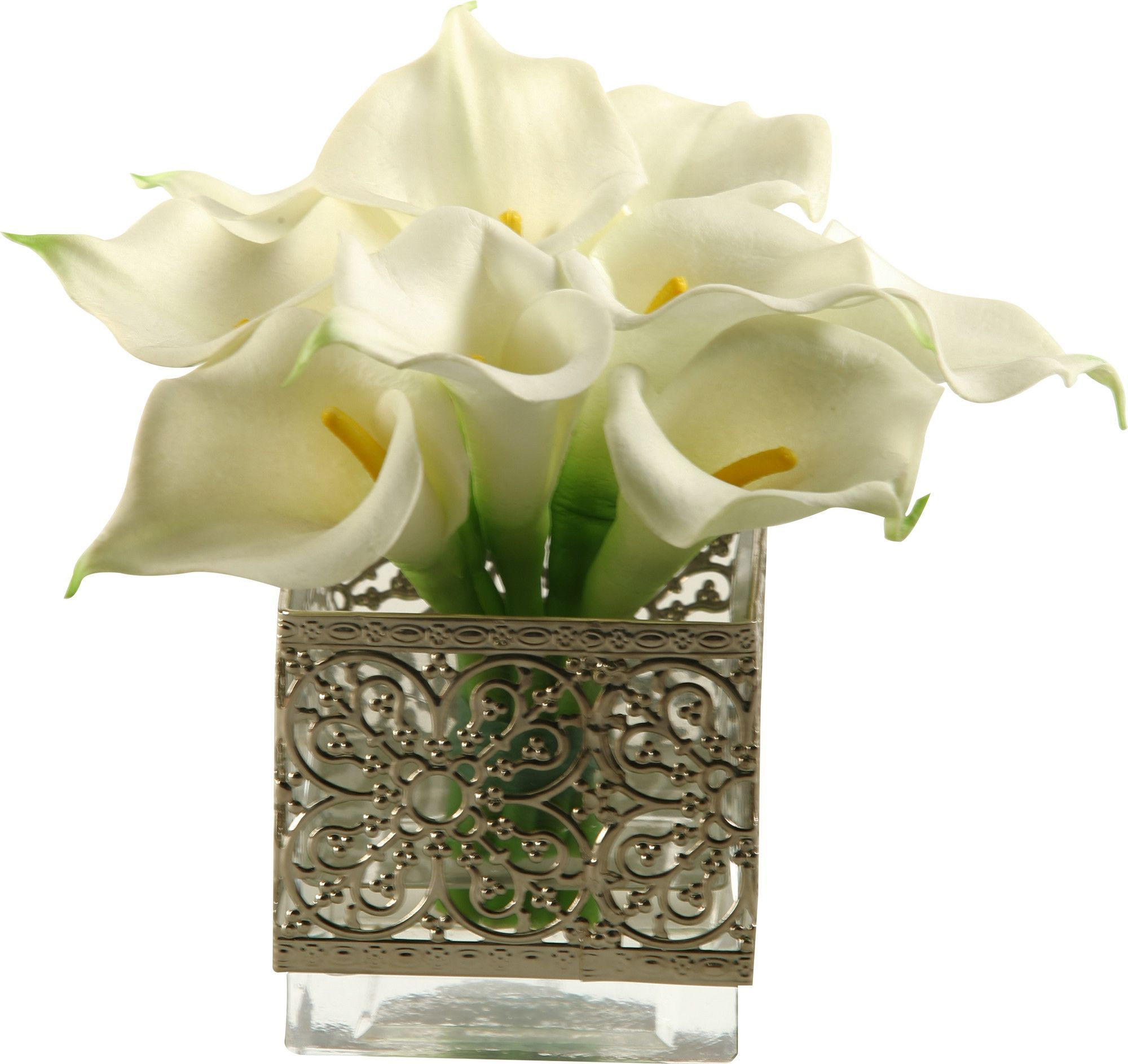 Calla lilies in glass cube vase glass cube and gardens calla lilies in glass cube vase reviewsmspy