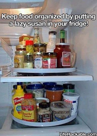 lazy susan in the fridge to keep it organized organization hacks home organization cleaning on kitchen organization lazy susan id=27332
