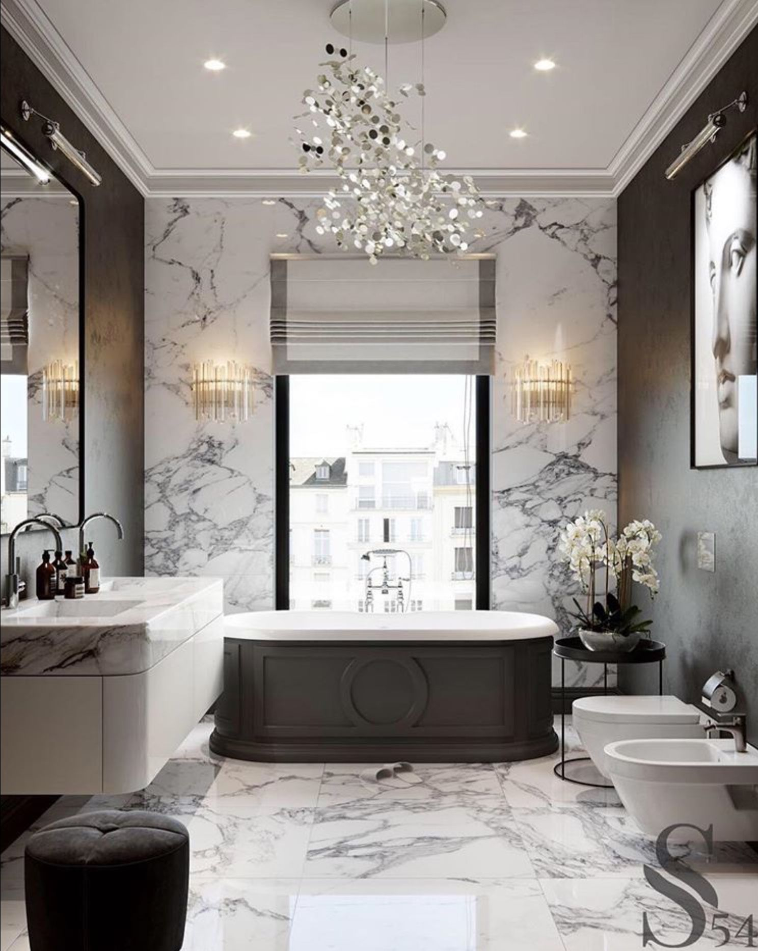 Black White Glam Bathroom Glam Vibe 1 Marble For Wall Floor Countertop 2 Crown Molding 3 Pa Bathroom Design Layout Luxury Bathroom Elegant Bathroom