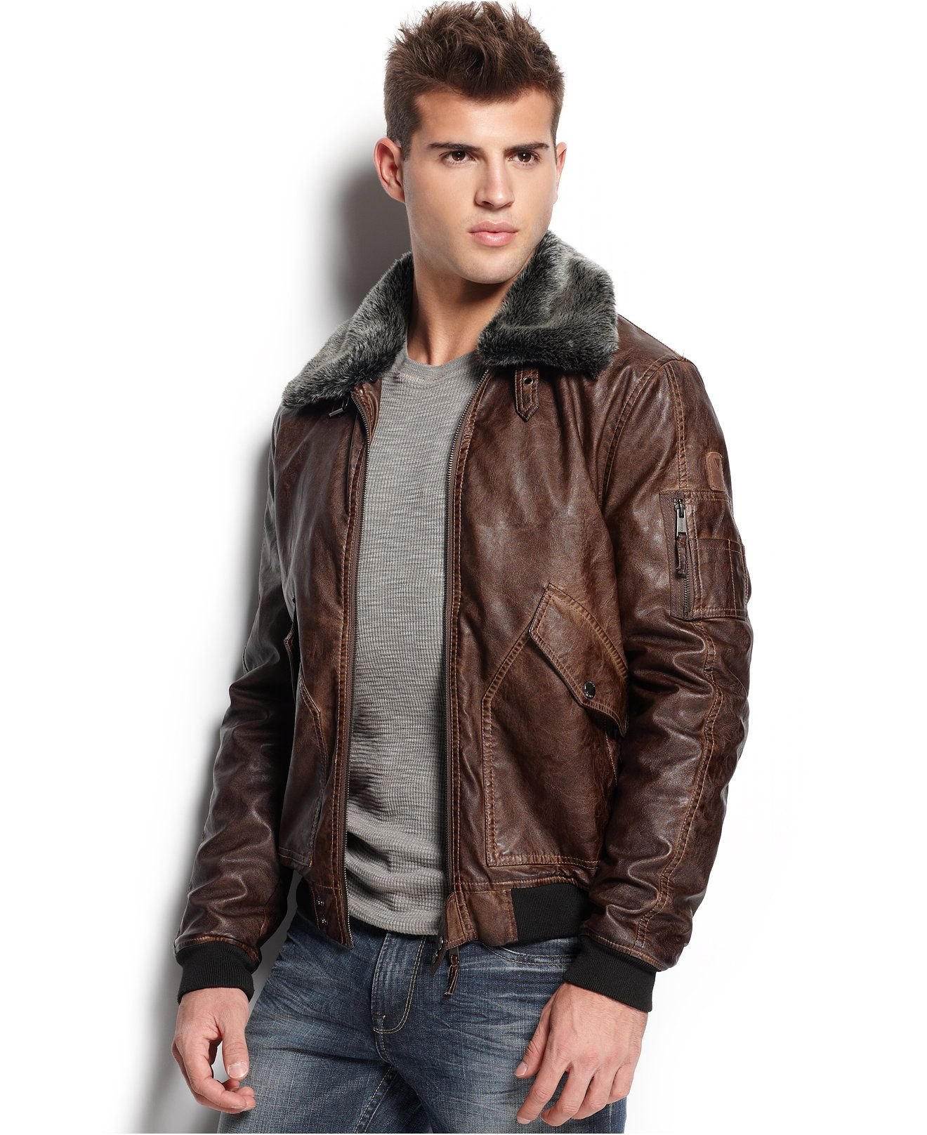 GUESS Faux Leather Aviator Jacket - Coats & Jackets - Men - Macy's